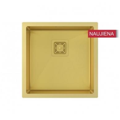 Aukso spalvos nerūdijančio plieno plautuvė 450 x 450 mm