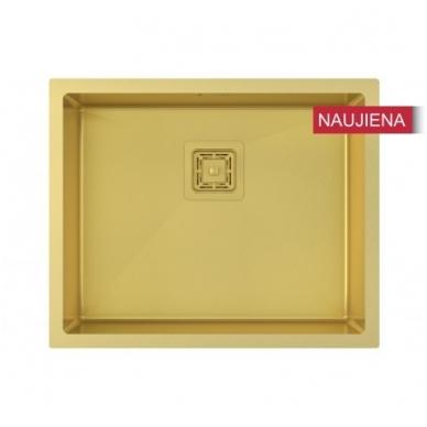 Aukso spalvos nerūdijančio plieno plautuvė 550 x 450 mm