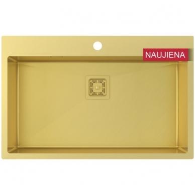 Aukso spalvos nerūdijančio plieno plautuvė 790 x 510 mm