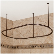Bronzinis, ovalus vonios užuolaidos karnizas