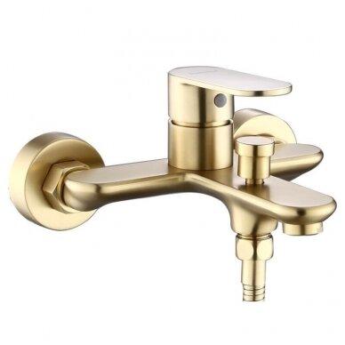 Braižyto aukso  dušelis 3 padėčių, žarna 1,5m, laikiklis, Brushed gold BGHS01 2