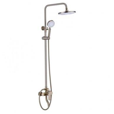 Braižyto aukso dušo stovas su maišytuvu, snapu, dušeliu, lietaus galva, Brushed gold MN09BG