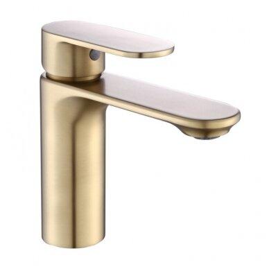 Braižyto aukso dušo stovas su maišytuvu, snapu, dušeliu, lietaus galva, Brushed gold MN09BG 3