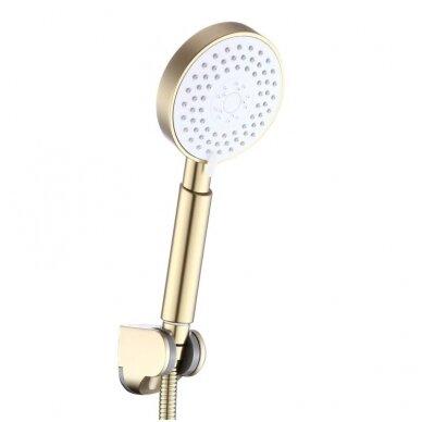 Braižyto aukso dušo stovas su maišytuvu, snapu, dušeliu, lietaus galva, Brushed gold MN09BG 5