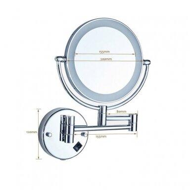 Kosmetinis veidrodis dvipusis didina 3 kart su led apšvietimu chromas, auksas, bronza, juodos spalvos 89401G 2