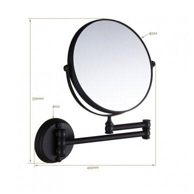 Kosmetinis veidrodis dvipusis didina 3 kart su led apšvietimu chromas, auksas, bronza, juodos spalvos 89401G 5