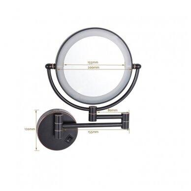 Kosmetinis veidrodis dvipusis didina 3 kart su led apšvietimu chromas, auksas, bronza, juodos spalvos 89401G