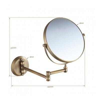Kosmetinis veidrodis dvipusis didina 3 kart su led apšvietimu chromas, auksas, bronza, juodos spalvos 89401G 6