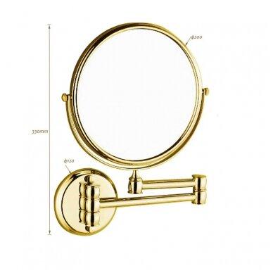 Kosmetinis veidrodis dvipusis didina 3 kart su led apšvietimu chromas, auksas, bronza, juodos spalvos 89401G 4