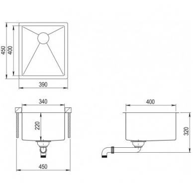Nerūdijančio plieno plautuvė 390 x 450 mm 2