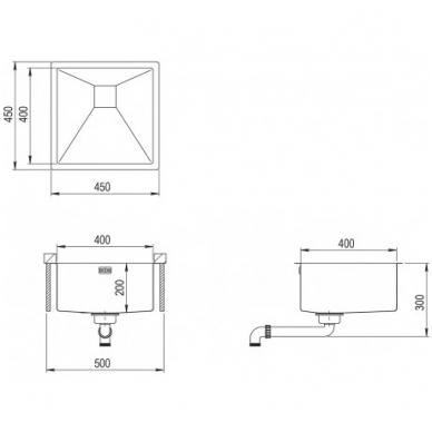 Nerūdijančio plieno plautuvė 450 x 450 mm 2