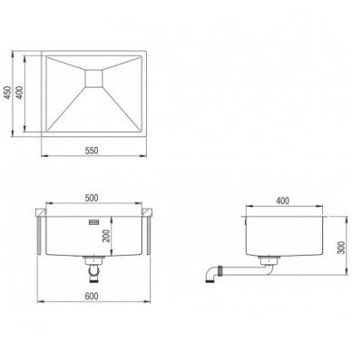Nerūdijančio plieno plautuvė 550 x 450 mm 2