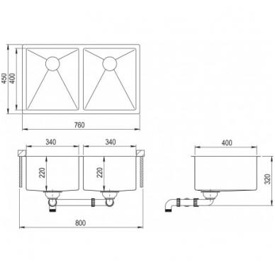 Nerūdijančio plieno plautuvė 760 x 450 mm 2
