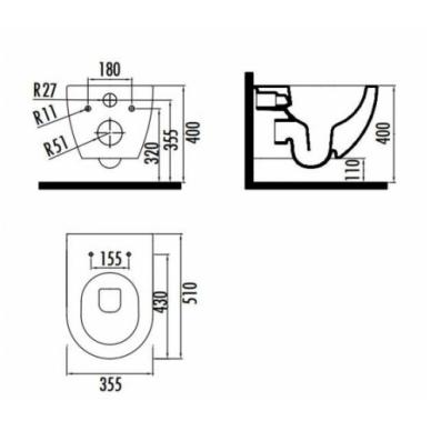 Pakabinamas klozetas su bide funkcija WC/Bide viename FE322.0500 4