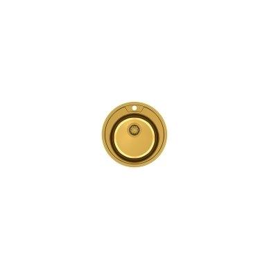Quadron - Apvali auksinė virtuvinė plautuvė CLINT 210