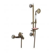Retro, klasikinis, bronzinis vonios maišytuvas su dušo stoveliu