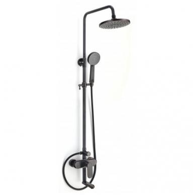 Retro dušo stovas su vonios maišytuvu, dušeliu ir didele lietaus galva  juodo sendinto  vario. Vienasvirtis.