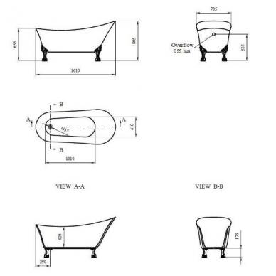Retro, klasikinė vonia Rosanna 2