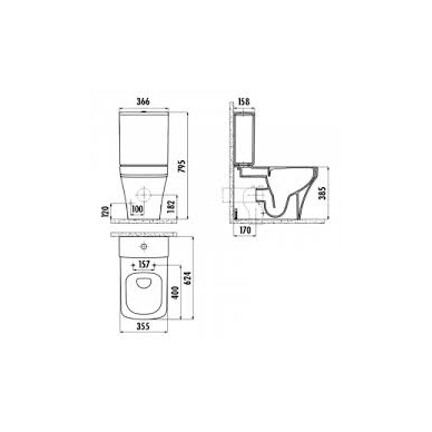 Rimless WC/BIDE  SOLO, UNIVERSAL TRAP 3