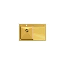 Stačiakampė auksinė virtuvinė plautuvė pagamintas iš nerūdijančio plieno (SteelQ), padengtas PVD danga, 780 mm x 490 mm x 190