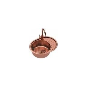 """Stačiakampė auksinė virtuvinė plautuvė""""Quadron Clint 211 """" su maišytuvu pagamintas iš nerūdijančio plieno (SteelQ), padengtas PVD danga.570 mm x 450 mm"""
