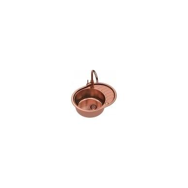 Stačiakampė auksinė virtuvinė plautuvė su maišytuvu pagamintas iš nerūdijančio plieno (SteelQ), padengtas PVD danga.570 mm x 450 mm
