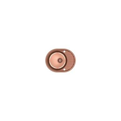 Stačiakampė auksinė virtuvinė plautuvė su maišytuvu pagamintas iš nerūdijančio plieno (SteelQ), padengtas PVD danga.570 mm x 450 mm 2