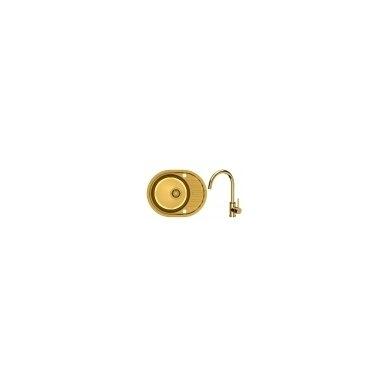Stačiakampė auksinė virtuvinė plautuvė su maišytuvu pagamintas iš nerūdijančio plieno (SteelQ), padengtas PVD danga.570 mm x 450 mm 5