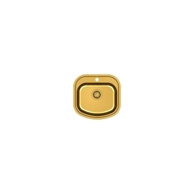 """Stačiakampė auksinė virtuvinė plautuvė""""Quadron RAY 110 """" su maišytuvu pagamintas iš nerūdijančio plieno (SteelQ), padengtas PVD danga.490 mm x 470 mm x 180 2"""