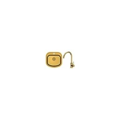Stačiakampė auksinė virtuvinė plautuvė su maišytuvu pagamintas iš nerūdijančio plieno (SteelQ), padengtas PVD danga.490 mm x 470 mm x 180