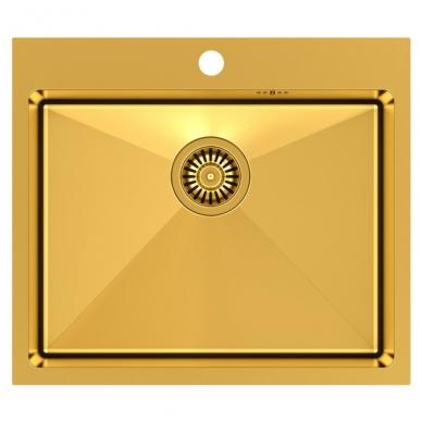 """Stačiakampė auksinė virtuvinė plautuvė""""Quadron RUSSEL 110 """"  pagamintas iš nerūdijančio plieno (SteelQ), padengtas PVD danga"""