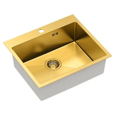 """Stačiakampė auksinė virtuvinė plautuvė""""Quadron RUSSEL 110 """"  pagamintas iš nerūdijančio plieno (SteelQ), padengtas PVD danga 2"""