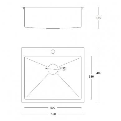 Stačiakampė auksinė virtuvinė plautuvė  pagamintas iš nerūdijančio plieno (SteelQ), padengtas PVD danga 3