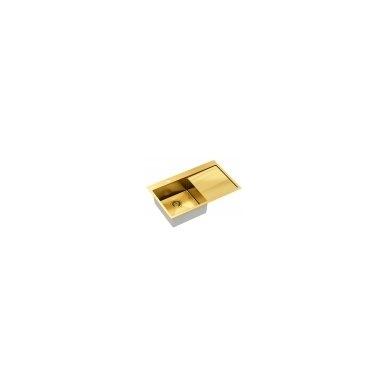 """Stačiakampė auksinė virtuvinė plautuvė""""Quadron RUSSEL 111"""" pagamintas iš nerūdijančio plieno (SteelQ), padengtas PVD danga, 780 mm x 490 mm x 190 2"""