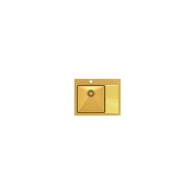"""Stačiakampė auksinė virtuvinė plautuvė""""Quadron RUSSEL 116"""" pagamintas iš nerūdijančio plieno (SteelQ), padengtas PVD danga. 600 mm x 480 mm x 190"""