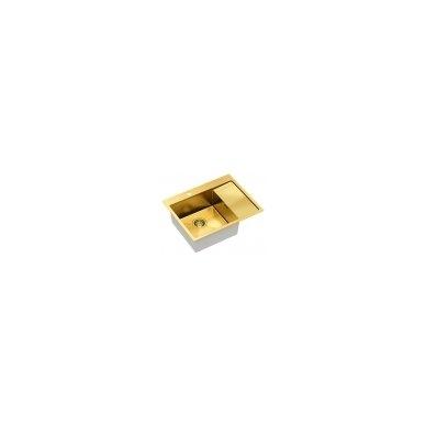 """Stačiakampė auksinė virtuvinė plautuvė""""Quadron RUSSEL 116"""" pagamintas iš nerūdijančio plieno (SteelQ), padengtas PVD danga. 600 mm x 480 mm x 190 2"""