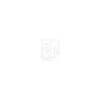 """Stačiakampė auksinė virtuvinė plautuvė""""Quadron RUSSEL 116"""" pagamintas iš nerūdijančio plieno (SteelQ), padengtas PVD danga. 600 mm x 480 mm x 190 3"""