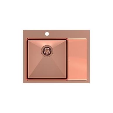 """Stačiakampė auksinė virtuvinė plautuvė""""Quadron RUSSEL 116"""" pagamintas iš nerūdijančio plieno (SteelQ), padengtas PVD danga. 600 mm x 480 mm x 190 4"""