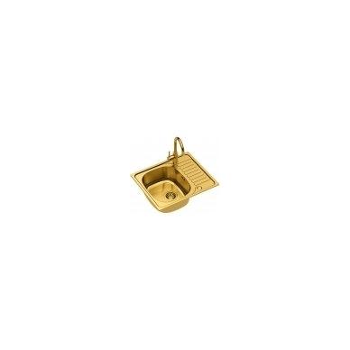 Stačiakampė auksinė virtuvinė plautuvė su maišytuvu, pagamintas iš nerūdijančio plieno (SteelQ), padengtas PVD danga.580 mm x 485 mm