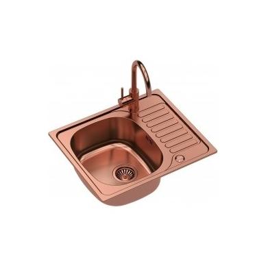 Stačiakampė auksinė virtuvinė plautuvė su maišytuvu, pagamintas iš nerūdijančio plieno (SteelQ), padengtas PVD danga.580 mm x 485 mm 6