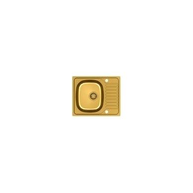 Stačiakampė auksinė virtuvinė plautuvė su maišytuvu, pagamintas iš nerūdijančio plieno (SteelQ), padengtas PVD danga.580 mm x 485 mm 2