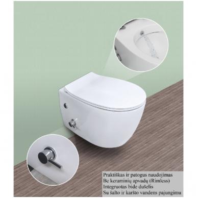 WC pakabinamas SENTIMENTI su bidė funkcija, bekantis su plonu lėtaeigiu dangčiu 2